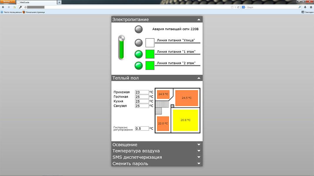 Система умный дом - WSCADA - электропитание, теплый пол