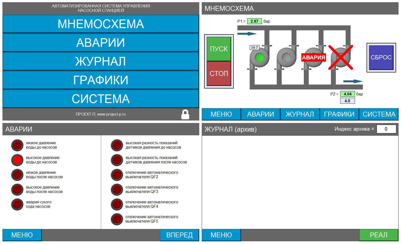 Система управления насосной станцией - экраны панели оператора 1