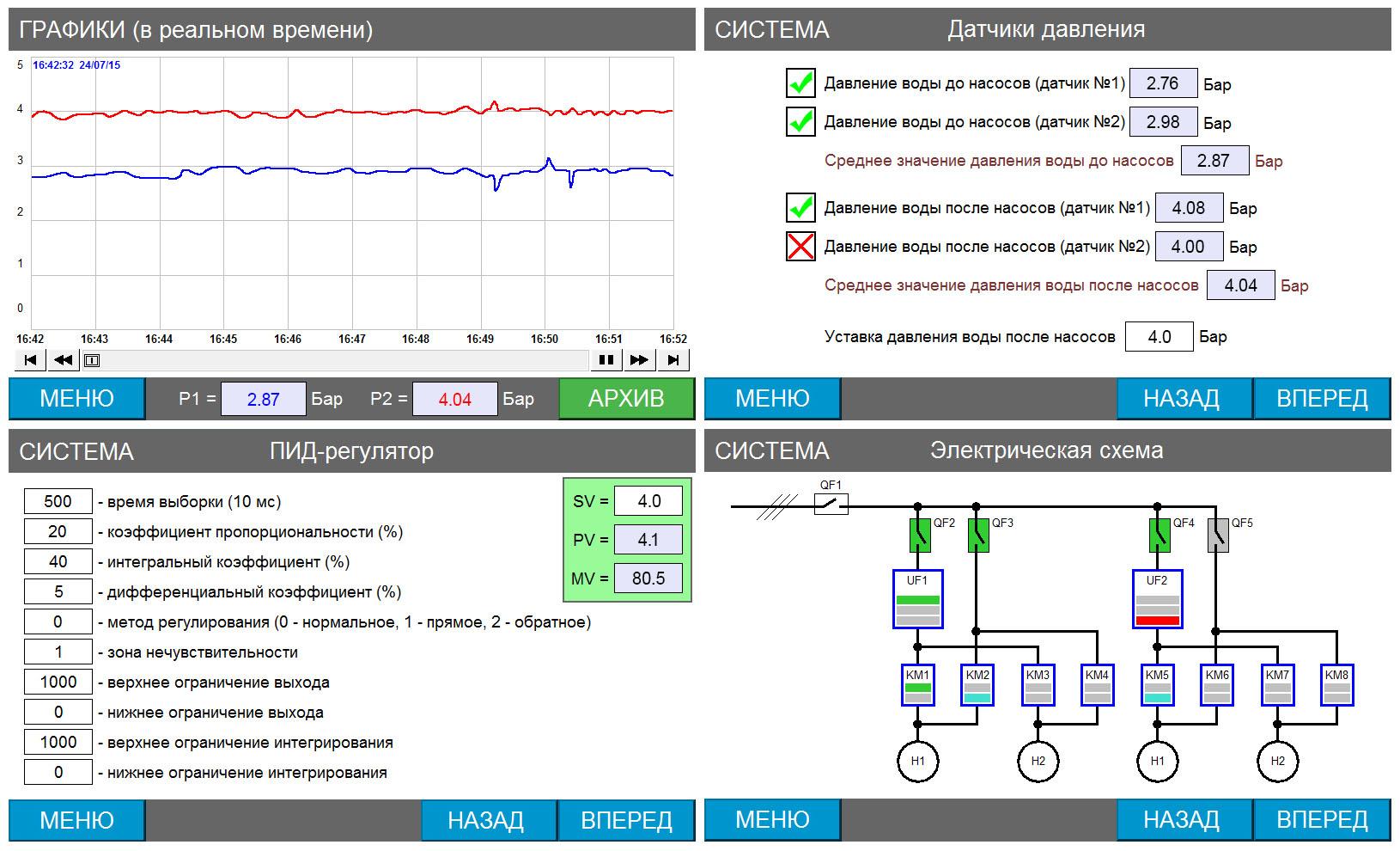 Система управления насосной станцией - экраны панели оператора 2