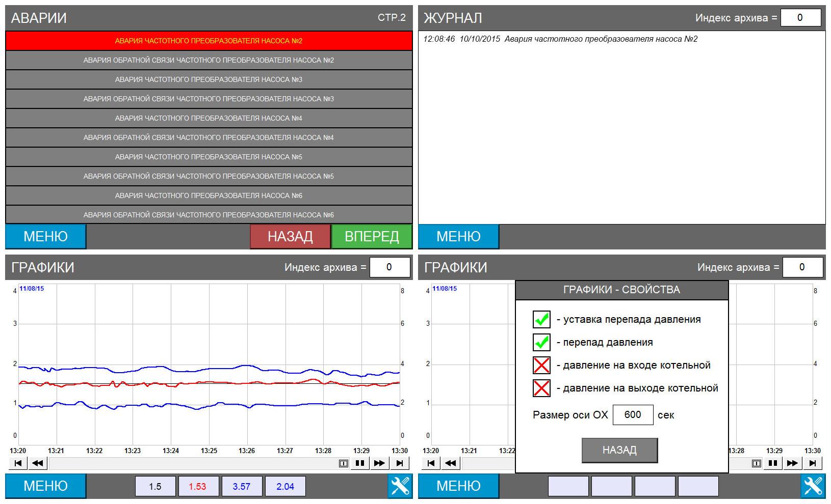 Автоматизированная система управления сетевыми насосами - экраны панели оператора 2