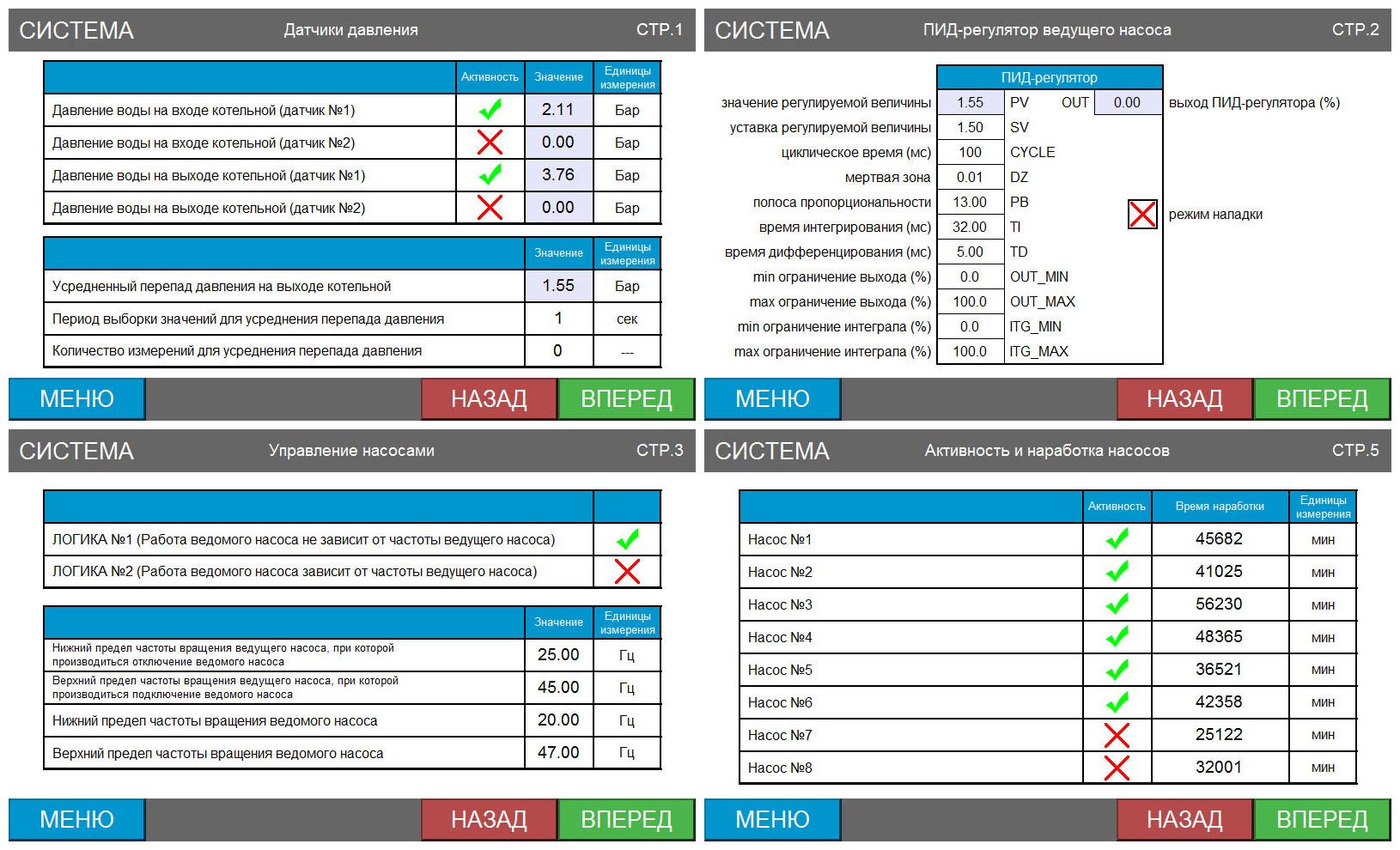 Автоматизированная система управления сетевыми насосами - экраны панели оператора 3