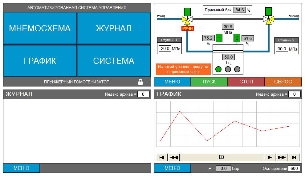 Пульт управления плунжерным гомогенизатором - экраны панели оператора 1