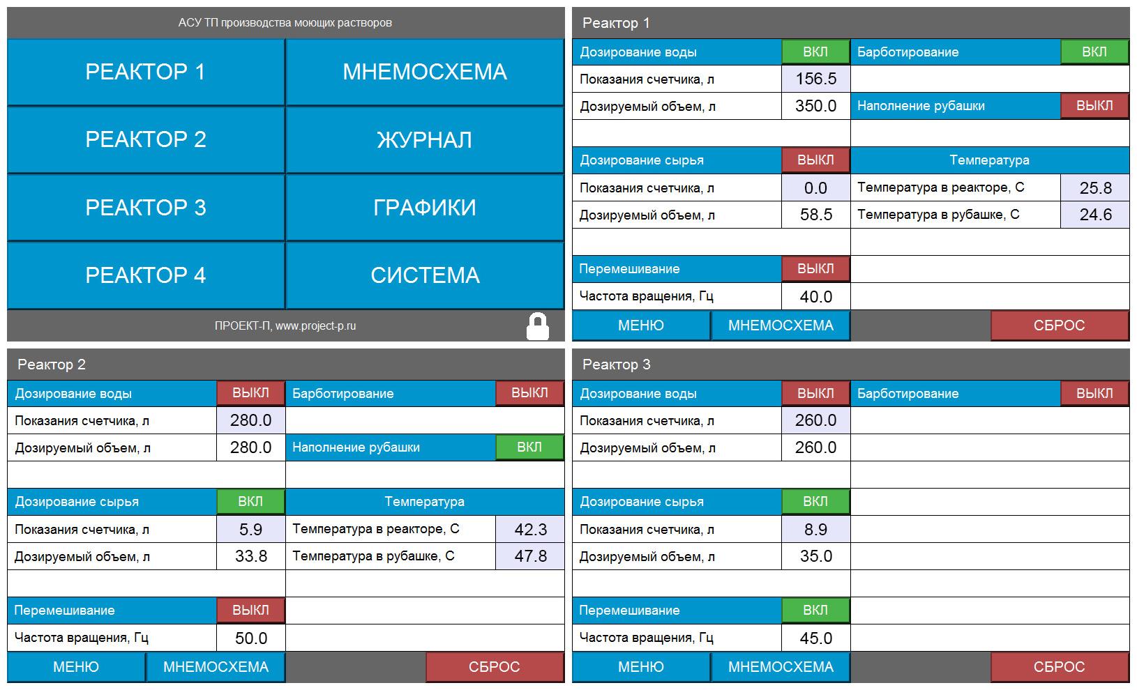 Система автоматизации оборудования производства автохимии - экраны панели оператора 1
