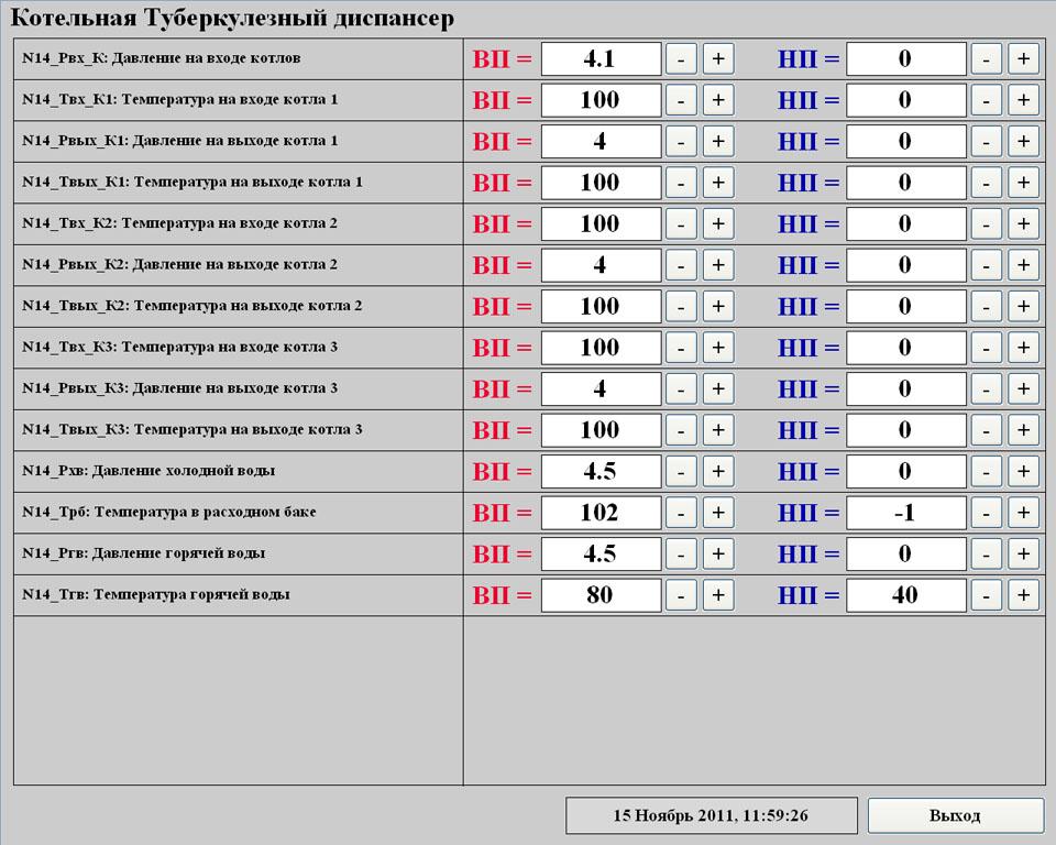 Система телеметрии (диспетчеризации) газовой котельной - SCADA Trace Mode - аварийные границы