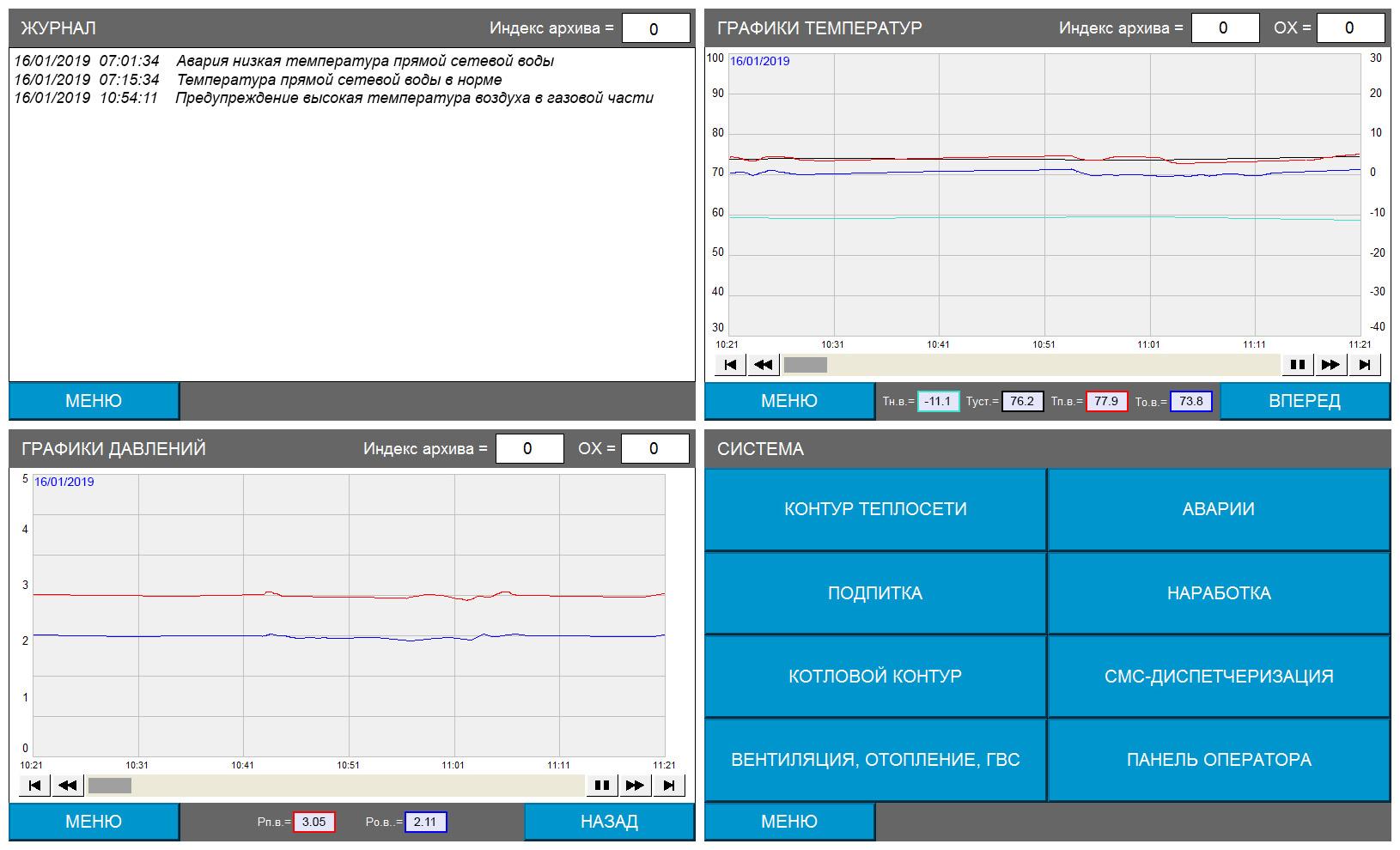 Пусконаладочные работы котельной 3.24МВт - экраны панели оператора Weintek 2